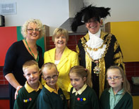 ress and the Lord Major of Birmingham in the Lego kitchen at Princethorpe Infant and Junior School