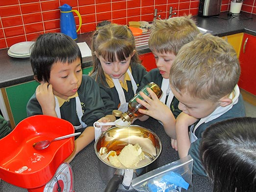 Lots of fun in the new kitchen at Princethorpe Infant and Nursery School, Birmingham.