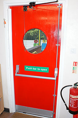 Completed fire door with fittings.